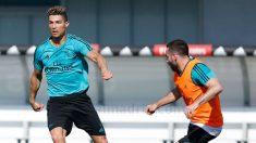 Cristiano Ronaldo y Carvajal durante un entrenamiento. (Realmadrid.com)