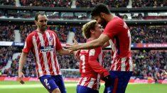 Diego Costa, Godín y Griezmann. (AFP)