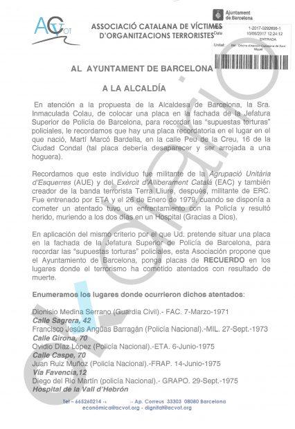 Carta de las víctimas del terrorismo catalanas
