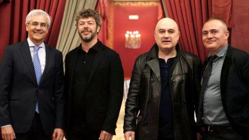 Ignacio García-Belenguer, director general del Teatro Real, Pablo Heras-Casado, Calixto Bieito y Joan Matabosch, director artístico del Teatro Real. (Foto: EFE)