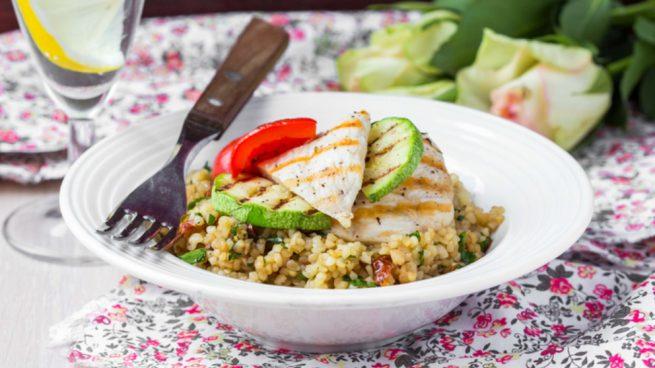 quinoa con lentejas y pollo