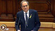 Quim Torra durante el debate de su investidura (Foto: Efe).