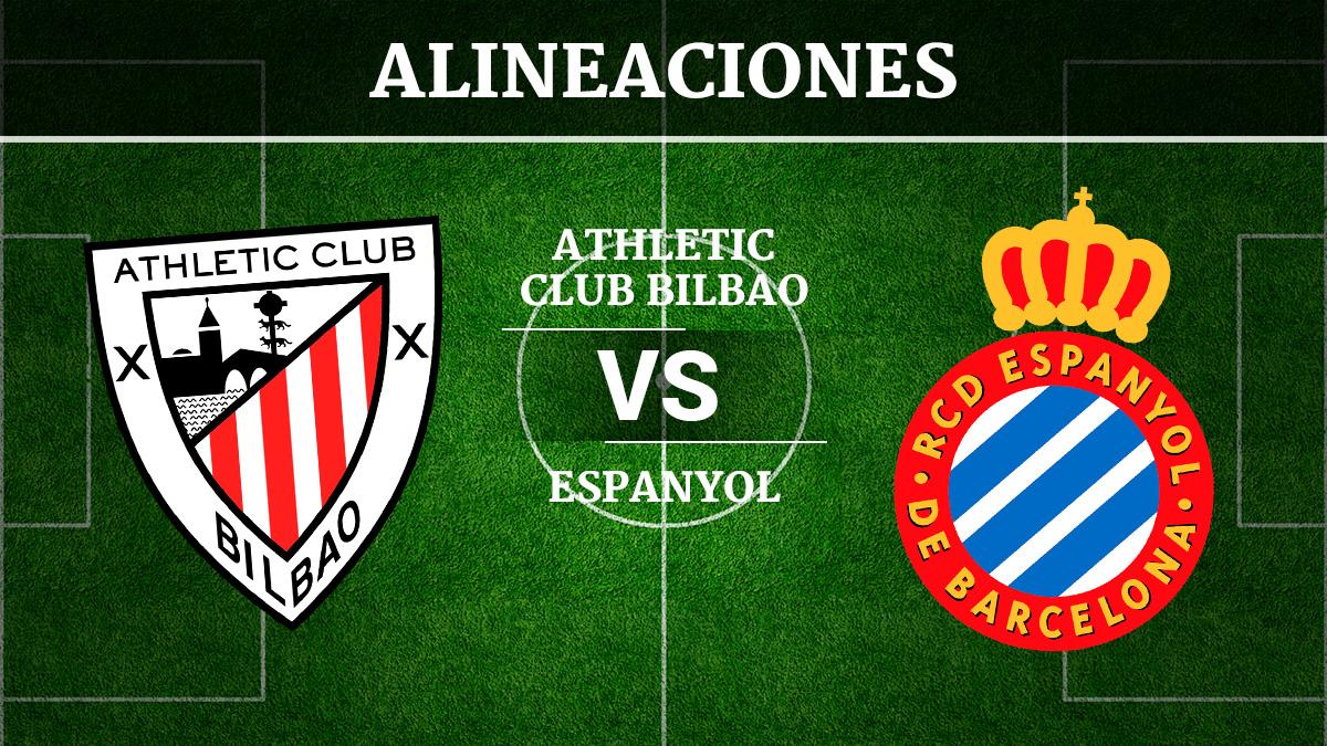 Consulta las posibles alineaciones del Athletic de Bilbao vs Espanyol.