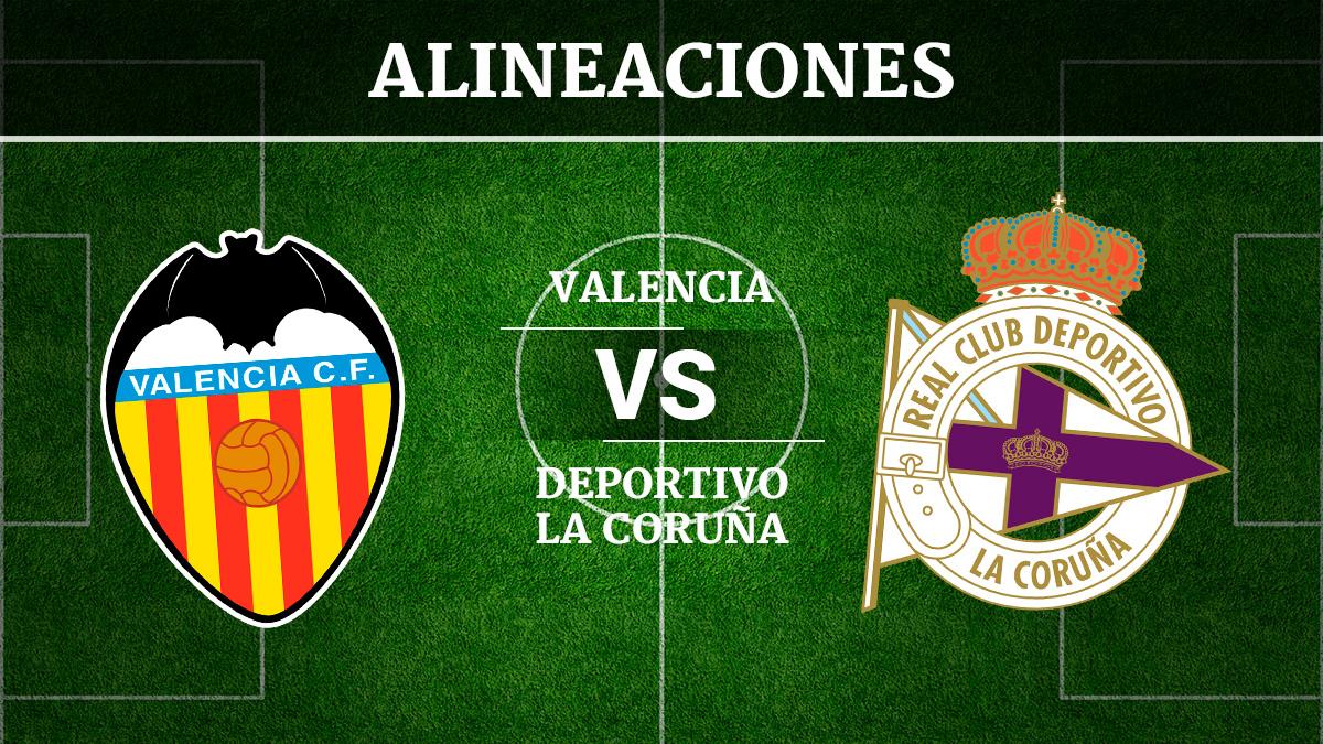 Consulta las posibles alineaciones del Valencia vs Deportivo de la Coruña.