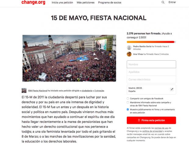 Campaña de Podemos en internet para declarar el 15-M fiesta nacional