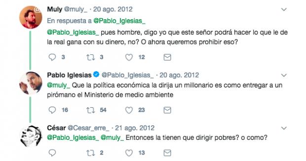 """Iglesias dice que Montero ha necesitado un préstamo de su padre, """"toda su vida mozo de mudanza"""""""