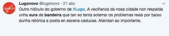 Tuit de Lugonovo, marca de Podemos en Lugo contra las juras de bandera
