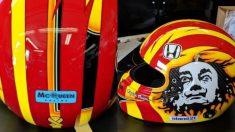 El casco de Oriol Serviá, participante en las 500 millas de Indianápolis. (Twiiter)