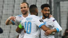 Germain, Payet y Amavi celebran un gol del Marsella. | Alineación oficial del Marsella. (AFP)