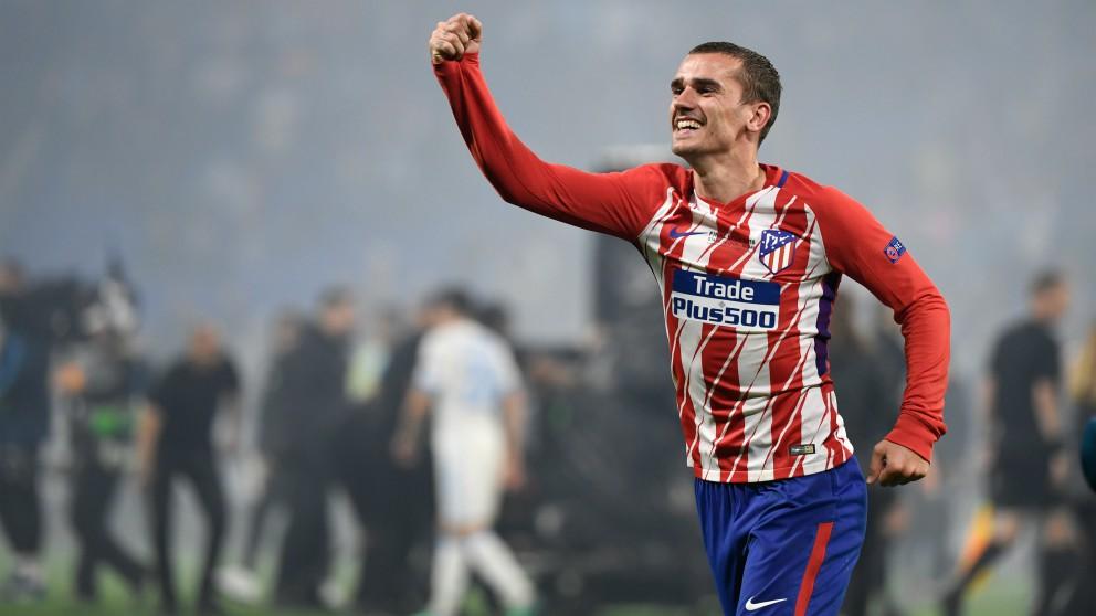 Griezmann celebra el triunfo del Atlético de Madrid. (AFP)