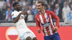 Griezmann celebra el gol en la final de la Europa League contra el Marsella. (AFP)