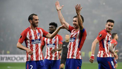 Los jugadores del Atlético de Madrid celebran el gol de Gabi. (AFP)