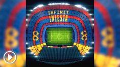 El mosaico que el Barcelona prepara para homenajear a Andrés Iniesta.