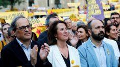 Quim Torra en la manifestación por los secesionistas presos (EFE).