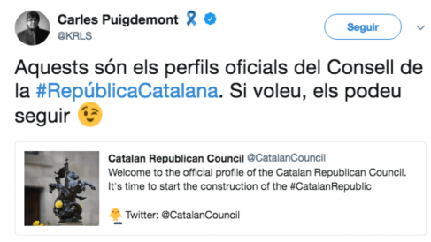 Puigdemont abre un perfil del 'Consejo de la República'.