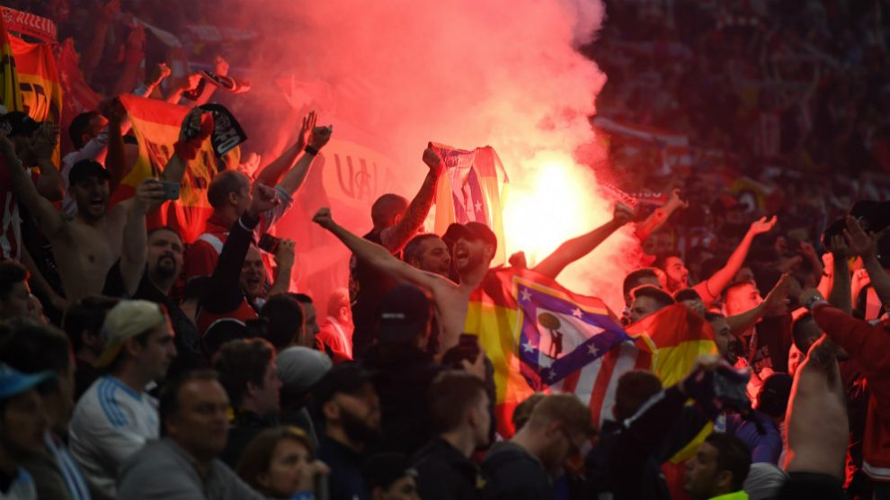 Los seguidores del Atlético de Madrid durante la final de la Europa League. (Getty)