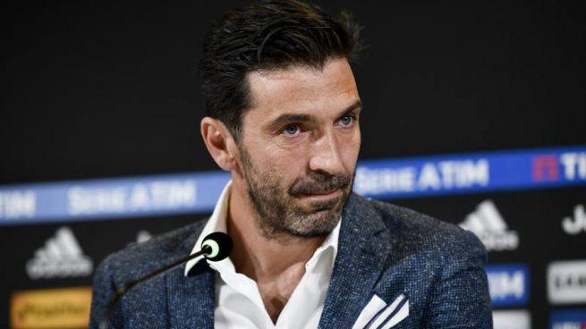 Buffon, en la rueda de prensa de despedida de la Juventus.