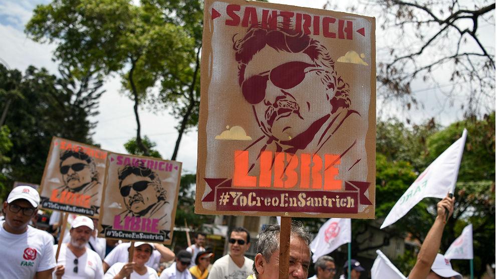 Manifestación de apoyo al narcoguerrillero 'Jesús Santrich', líder de las FARC, en Cali, Colombia. (AFP)
