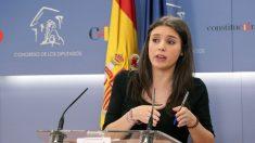 Irene Montero, en rueda de prensa en el Congreso.
