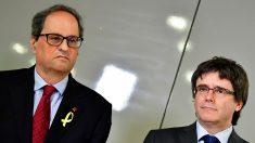 Quim Torra y Carles Puigdemont, presidente y expresidente de la Generalitat de Cataluña, respectivamente. (Foto: EFE)
