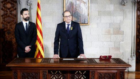 Quim Torra en su toma de posesión como presidente de la Generalitat de Cataluña. (Foto: AFP)
