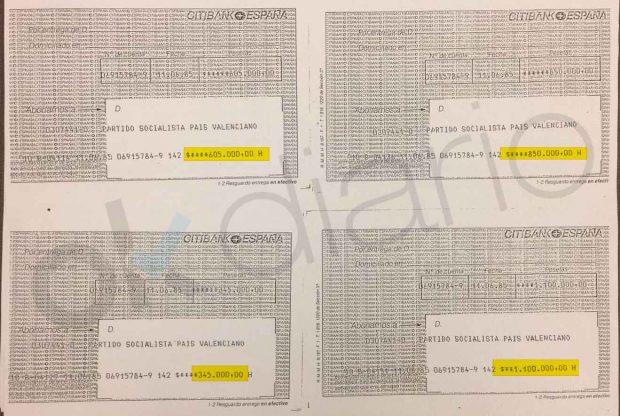 El PSOE valenciano cargó durante años recibís a la Diputación por importes de hasta 3 millones de pesetas