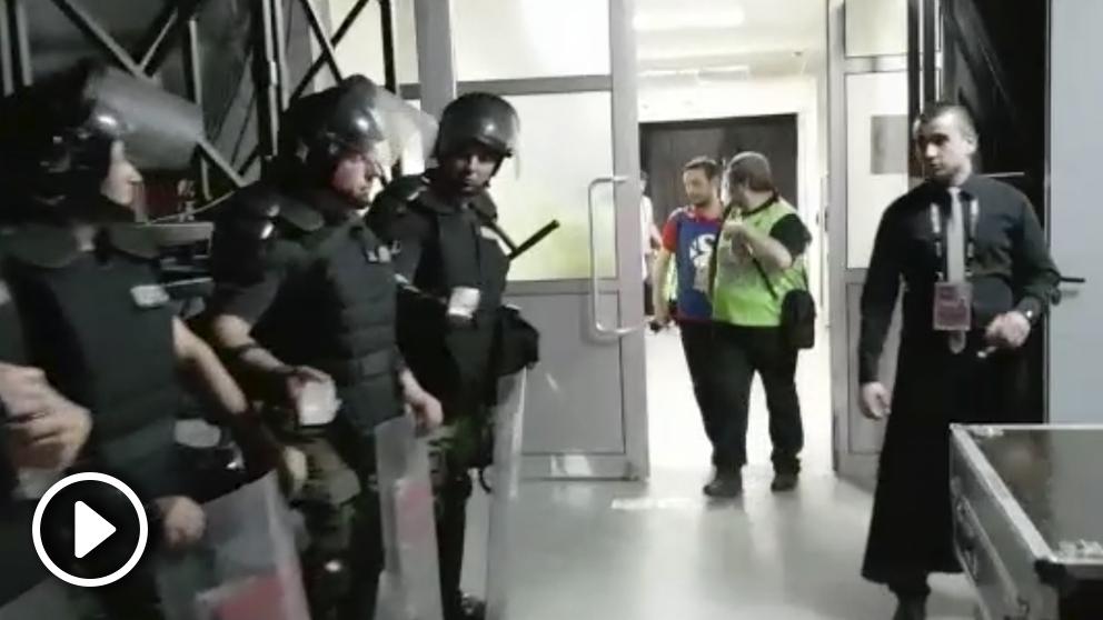 La policía serbia desplegada en la Final Four.