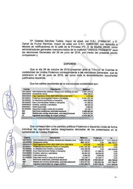 Escrito de Podemos al Tribunal de Cuentas por las elecciones 26-J. Primera hoja.