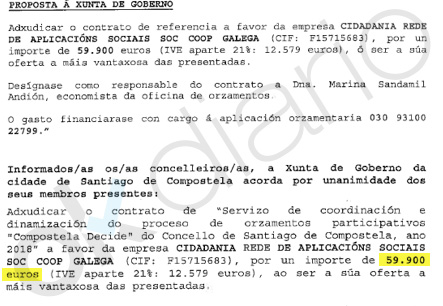 El alcalde podemita de Santiago da 193.000 € a una empresa fundada por su asesor