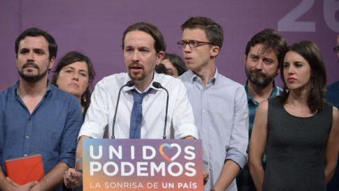 Pablo Iglesias en rueda de prensa en la noche electoral del 26-J. (Foto: Flickr Podemos)