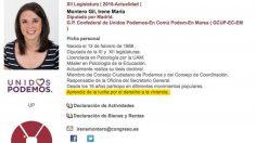 Ficha personal de Irene Montero en el Congreso de los Diputados