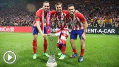 Celebración del Atlético en Lyon.