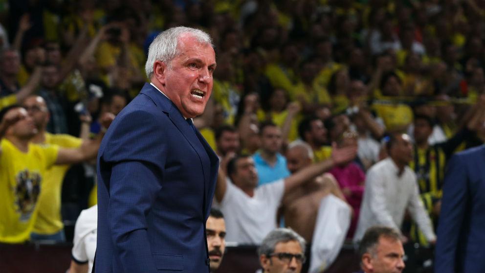 Obradovic empuja a su equipo con la marea amarilla de aficionados del Fenerbahce de fondo. (Getty)