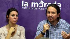Irene Montero y Pablo Iglesias en un acto en La Morada.