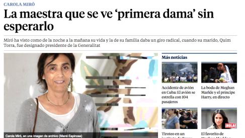 La mujer de Quim Torra, Carola Miró, en una entrevista concedida a La Vanguardia,