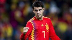 Morata durante un partido con España. (Getty)