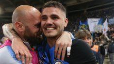 Icardi, entre lágrimas después de lograr la clasificación para la Champions. (Getty Images)