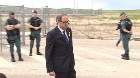 El president Quim Torra, a su salida de la cárcel de Estremera. (EP)