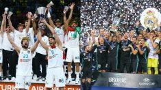 Los jugadores del Real Madrid de baloncesto y de fútbol celebran la Décima y la Duodécima respectivamente. | Final Champions League 2018