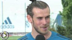 Bale atiende a los medios de comunicación en el Media Day de la final de la Champions League.
