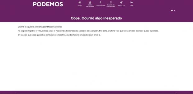 """Captura de pantalla con un mensaje de """"error"""" en una votación del plebiscito de Iglesias y Montero."""