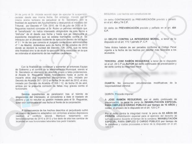 Escrito de la Fiscalía sobre el alcalde de Hoyo de Manzanares, José Ramón Regueiras.