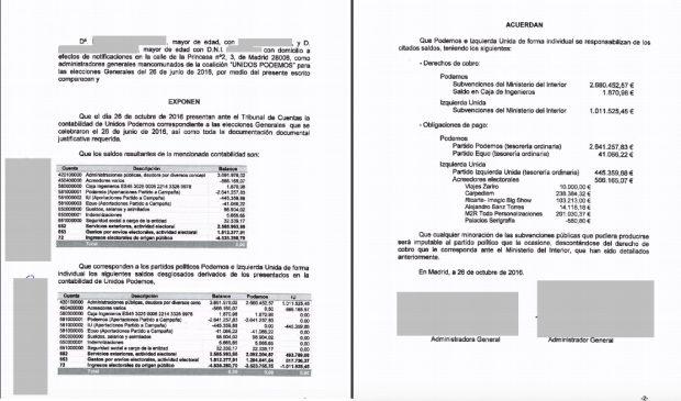 El tesorero de Podemos, Daniel de Frutos, y el documento remitido al Tribunal de Cuentas que el partido publicó originariamente. / OKDIARIO y Flickr Podemos