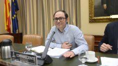 Daniel de Frutos, tesorero de Podemos, compareciendo en la Comisión de Calidad Democrática del Congreso en 2017.
