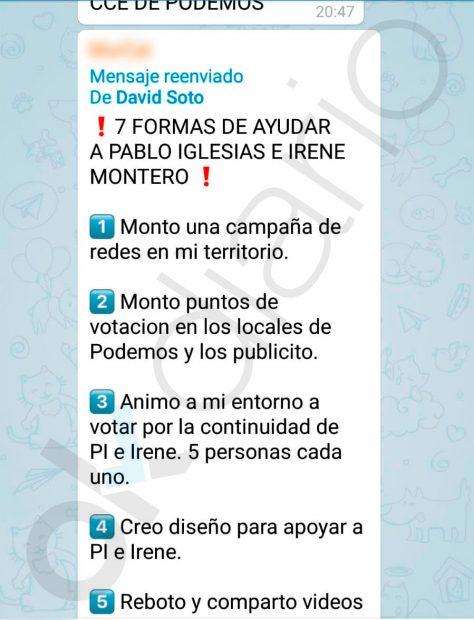 La dirección de Podemos difunde órdenes de cómo hacer campaña a favor de Iglesias y Montero