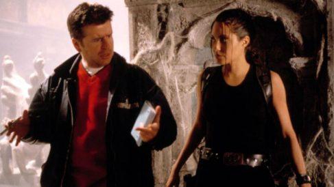 Simon West y Angelina Jolie durante el rodaje de Tomb Raider