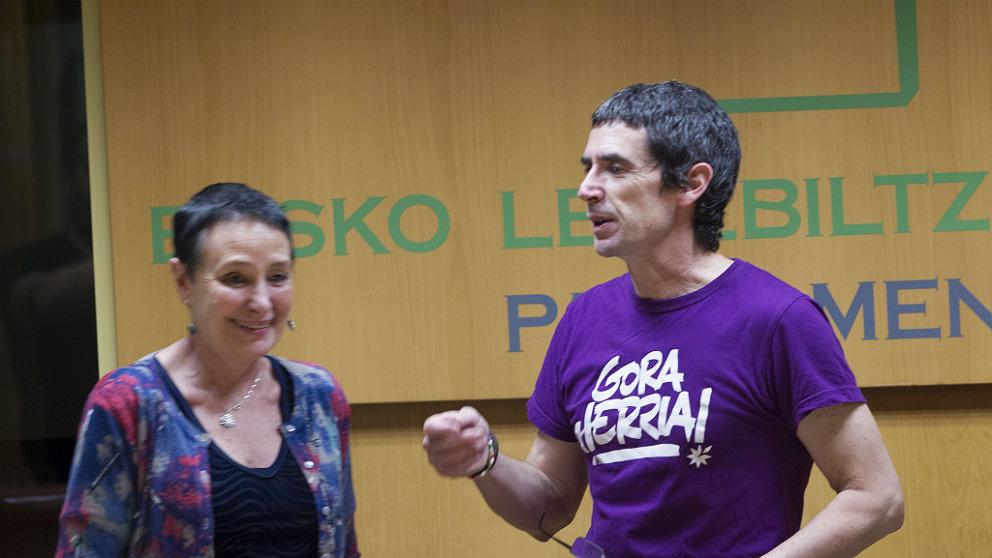 El etarra Txema Matanzas, en el Parlamento Vasco junto a la diputada de EH Bildu Jone Goirizelaia.