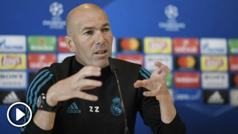 Zidane, en rueda de prensa previa a la final de la Champions League 2018 entre el Real Madrid y el Liverpool.