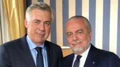 Carlo Ancelotti y Aurelio de Laurentiis, presidente del Nápoles.