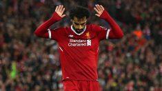 Mohamed Salah pide perdón a la afición de la Roma tras su gol. (Getty)